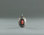 vintage coral and sterling silver shadow box pendant
