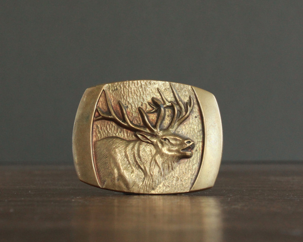 solid bronze elk head belt buckle