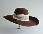 vintage brown felt hat with real snakeskin band