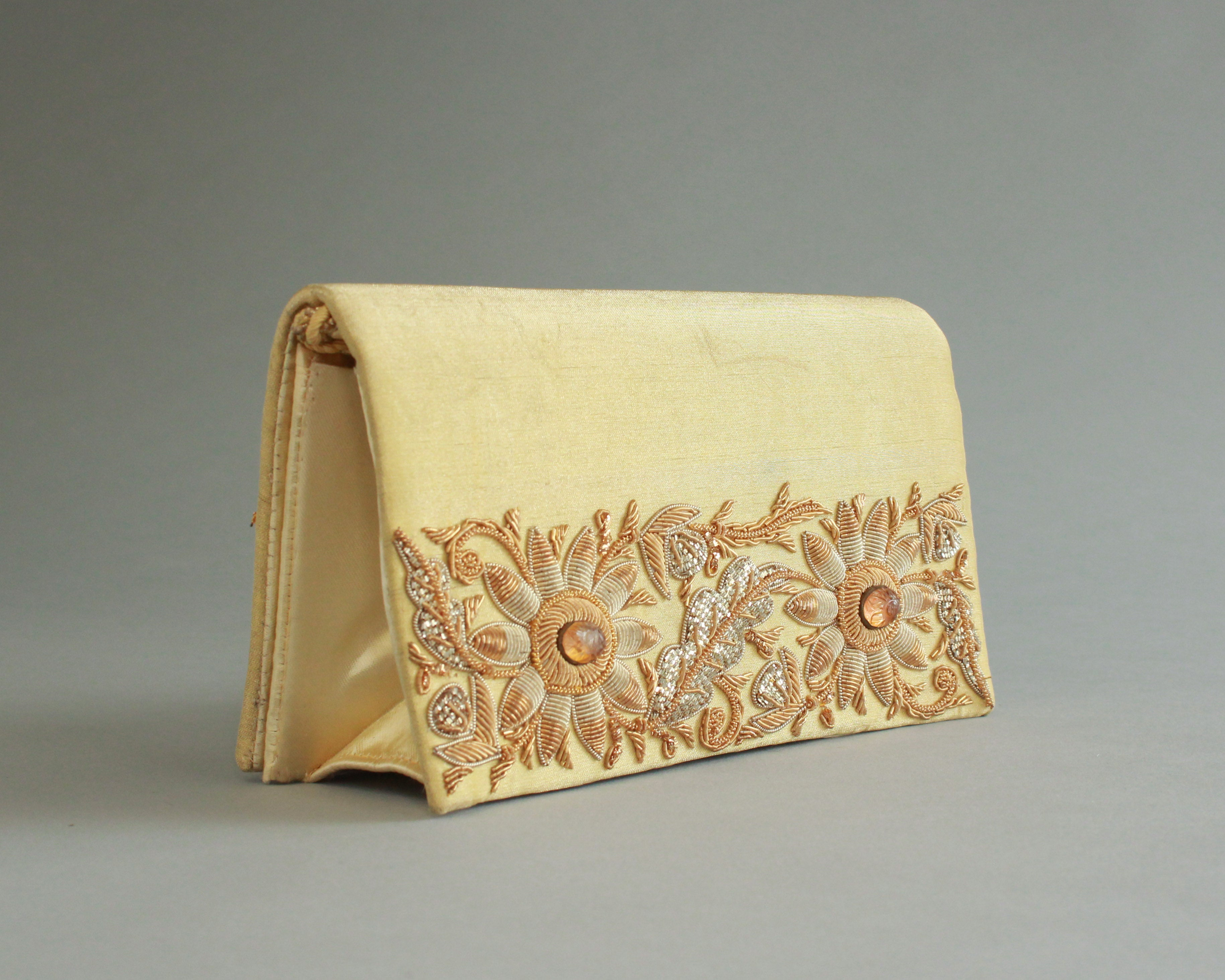 Gold beaded and embroidered satin evening bag handmade in India