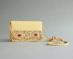 Vintage gold beaded handbag with long strap