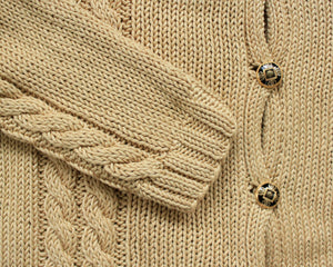 Handmade cotton cable knit cardigan in gold, women's medium