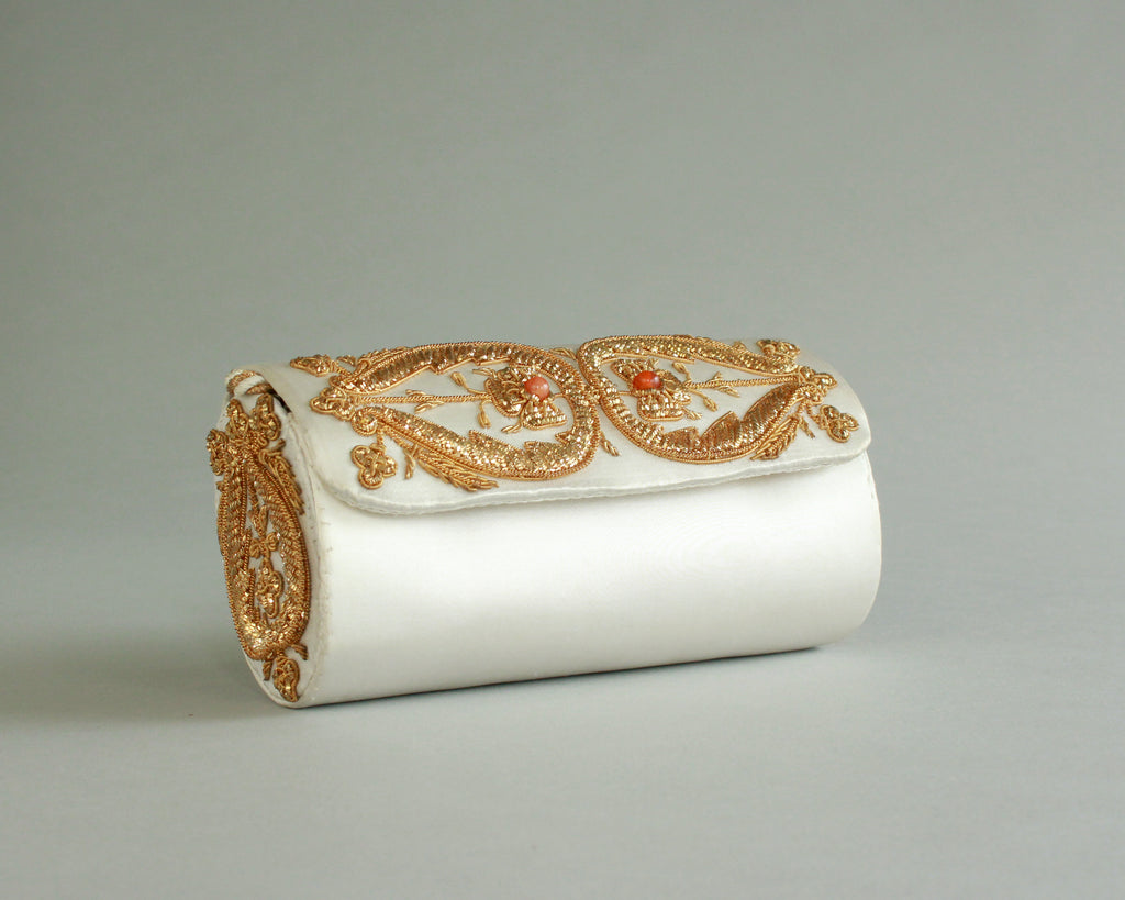 Vintage gold and white embroidered evening bag