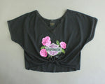 Vintage cutoff Harley shirt with pink roses women's medium