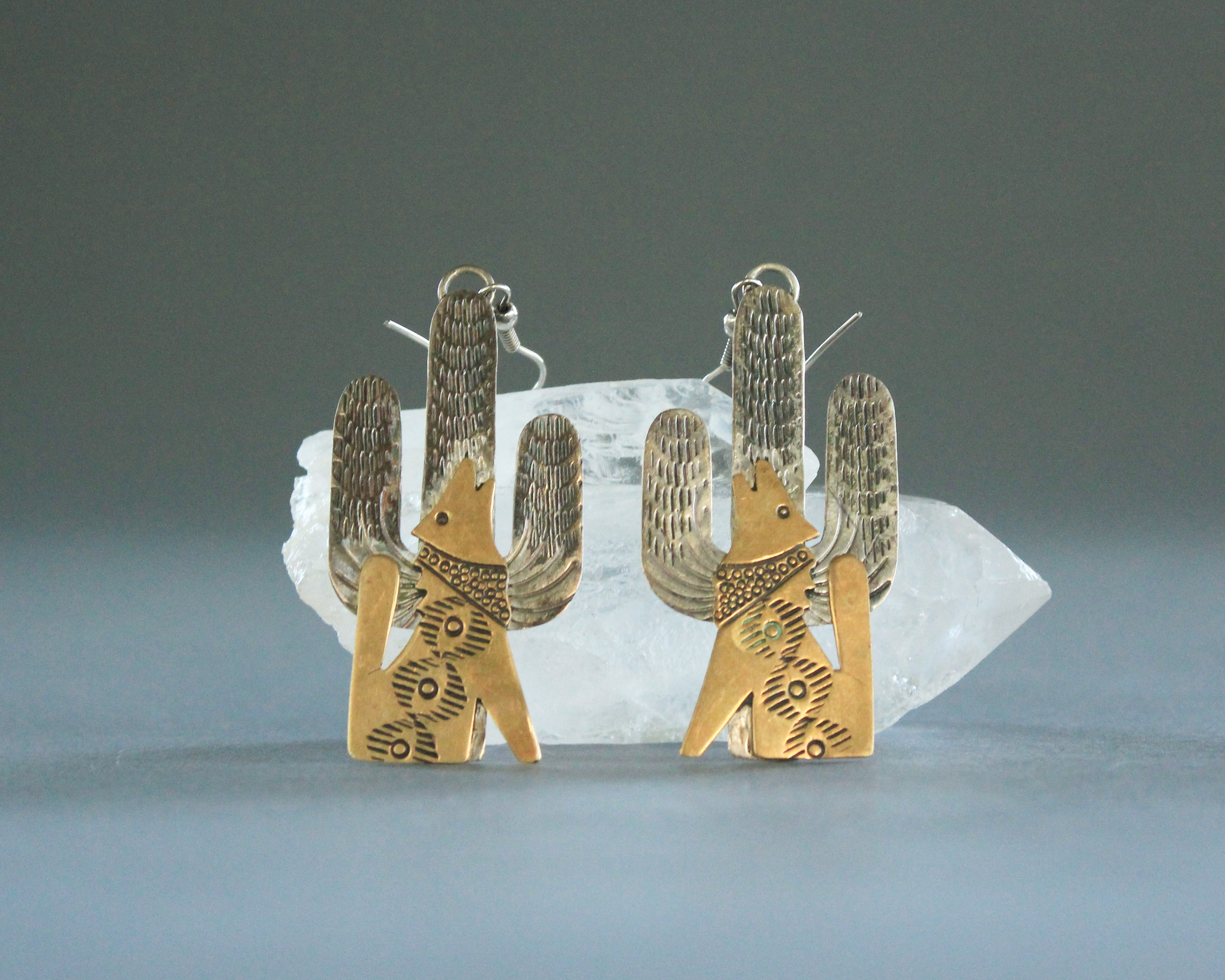 Cactus and coyote silver earrings