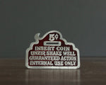 vintage dirty joke belt buckle red enamel