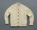 Hand knit Irish wool high neck cardigan women's medium