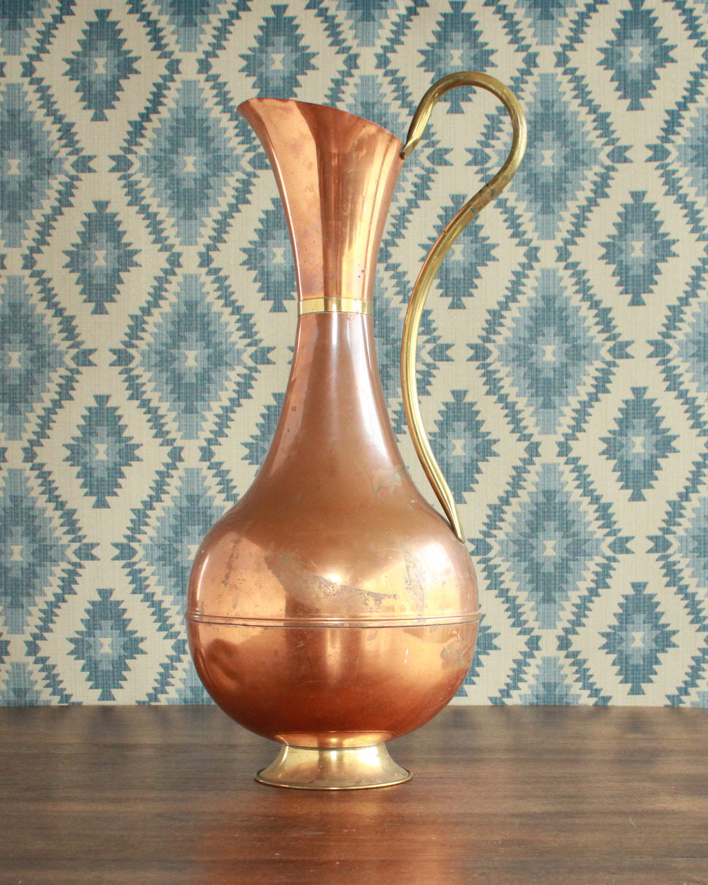 Large Copper Jug with Distressed Finish