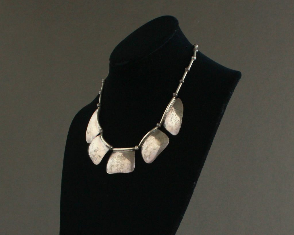 signed navajo silver statement necklace