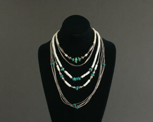 southwest layering necklaces in silver and turquoise
