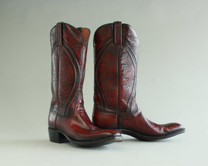 Lucchese burgundy dress cowboy boots men's size 8.5 C
