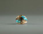 mens navajo turquoise and silver ring signed