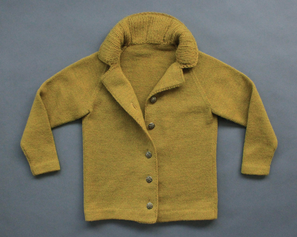 Chartreuse green vintage 60's cardigan with collar women's small