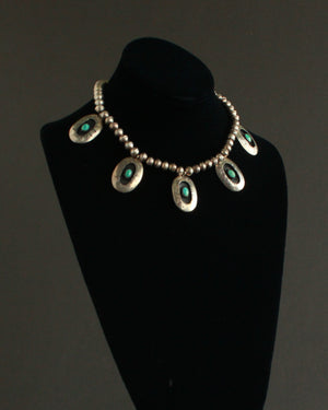 shadow box Navajo pearl silver statement necklace