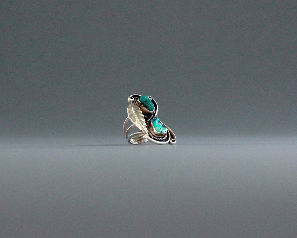 huge 1970s turquoise and silver southwest ring