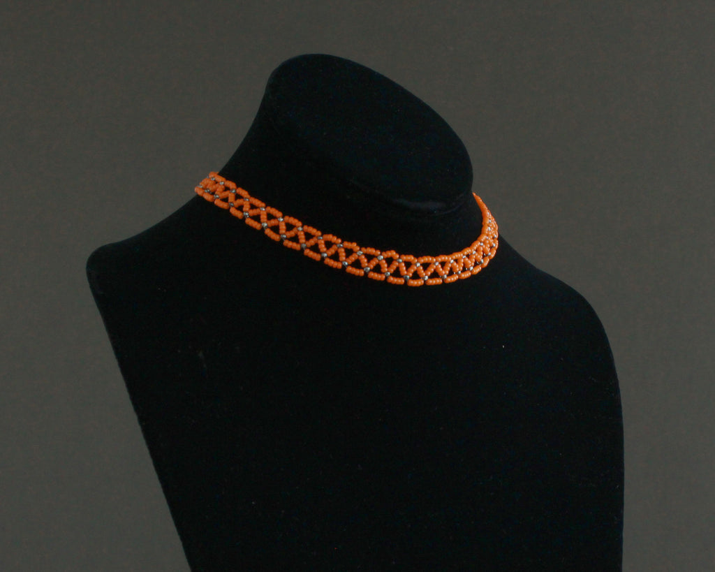 Handmade beaded orange chocker with adjustable suede ties