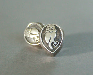 sterling silver overlay owl earrings
