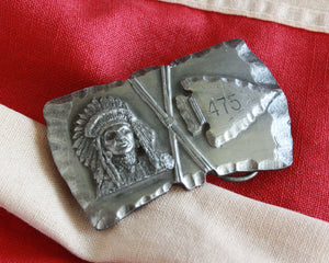 indian and arrowhead vintage belt buckle