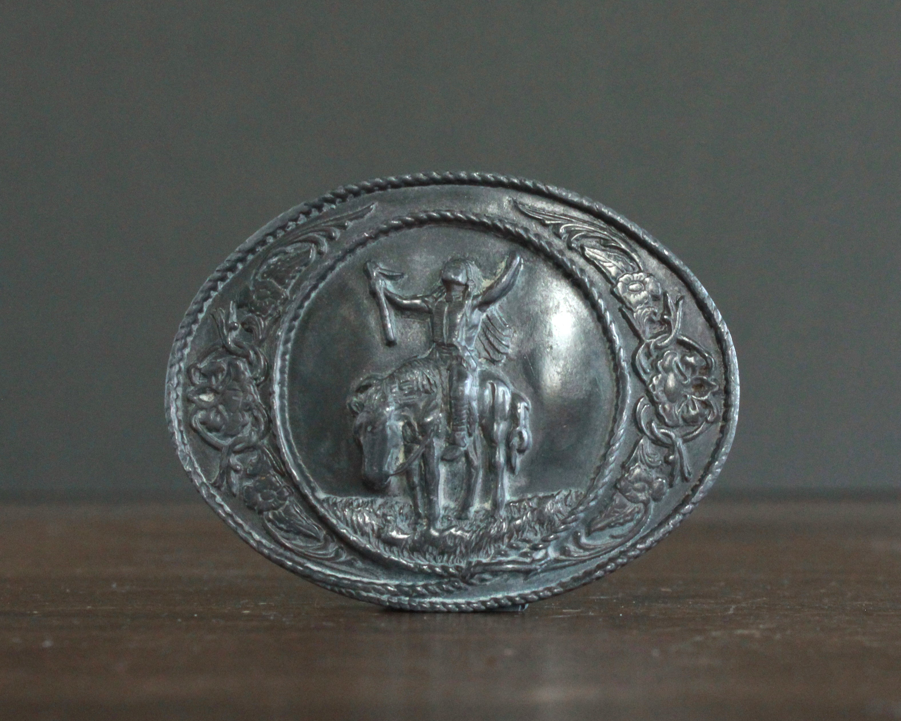 indian on horseback pewter belt buckle