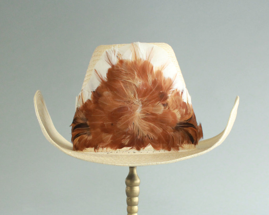 pheasant feather band retro straw cowboy hat