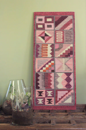 extra large hand woven Southwest textile in pink and white