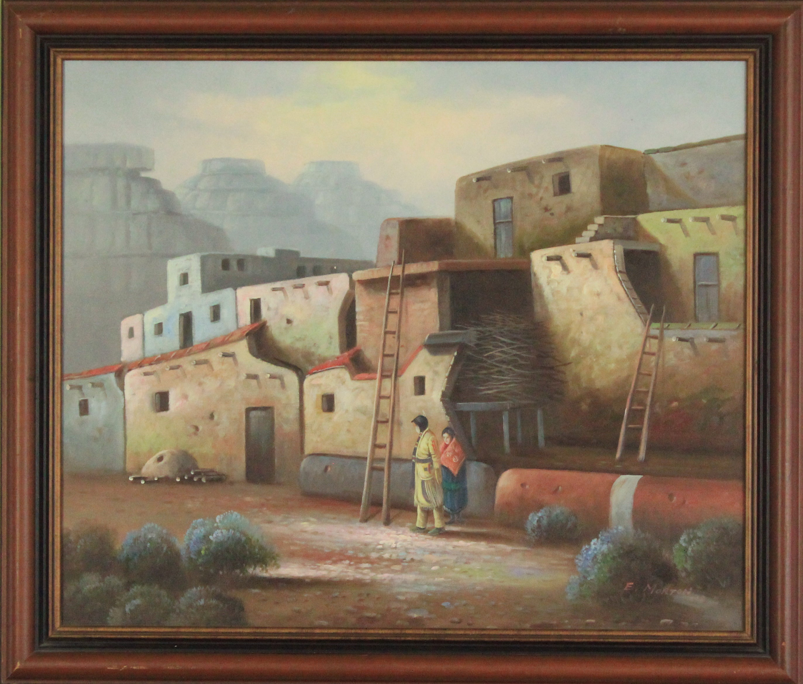 Southwest pueblo village original oil painting