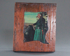 pueblo potter photo on wood plaque
