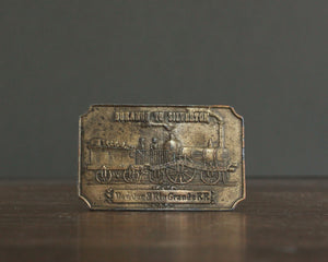 railroad history brass belt buckle