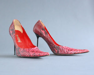 Genuine snakeskin pointy red stilettos size 9