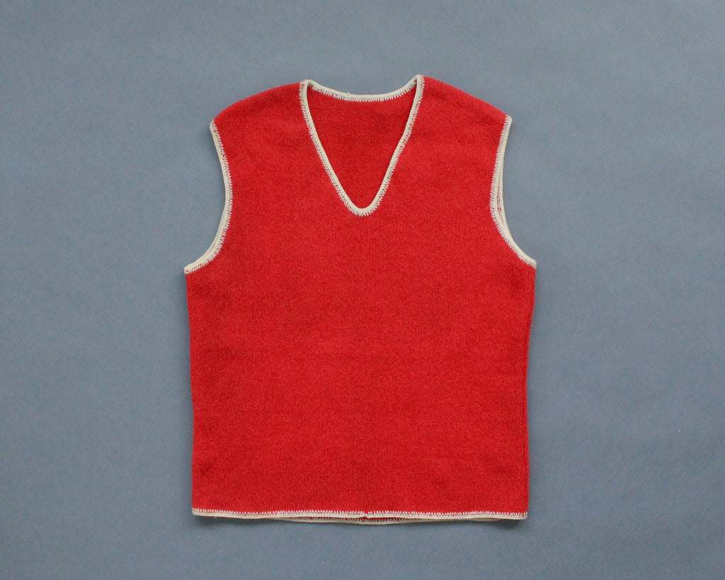 Vintage red wool pullover sweater vest with white trim