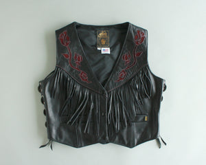 Black leather biker vest with fringe, conchos and roses womens size 14