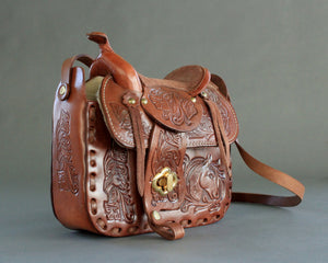 Western purse with real saddle on top