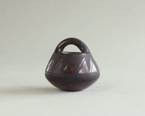Mini black on black pottery basket by Josefina Martinez of Santo Domingo Pueblo, New Mexico (Kewa)