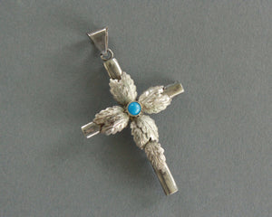 mexican sterling silver cross pendant with leaf design