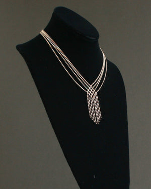 fringed multi strand silver ball chain necklace