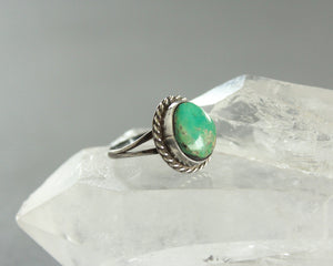 small natural turquoise ring with rope twist bezel
