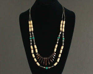 2 strand beaded southwest fan necklace