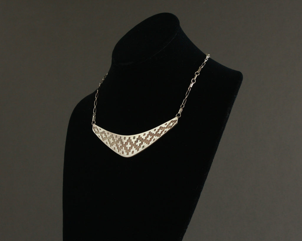 silver southwest print bib necklace