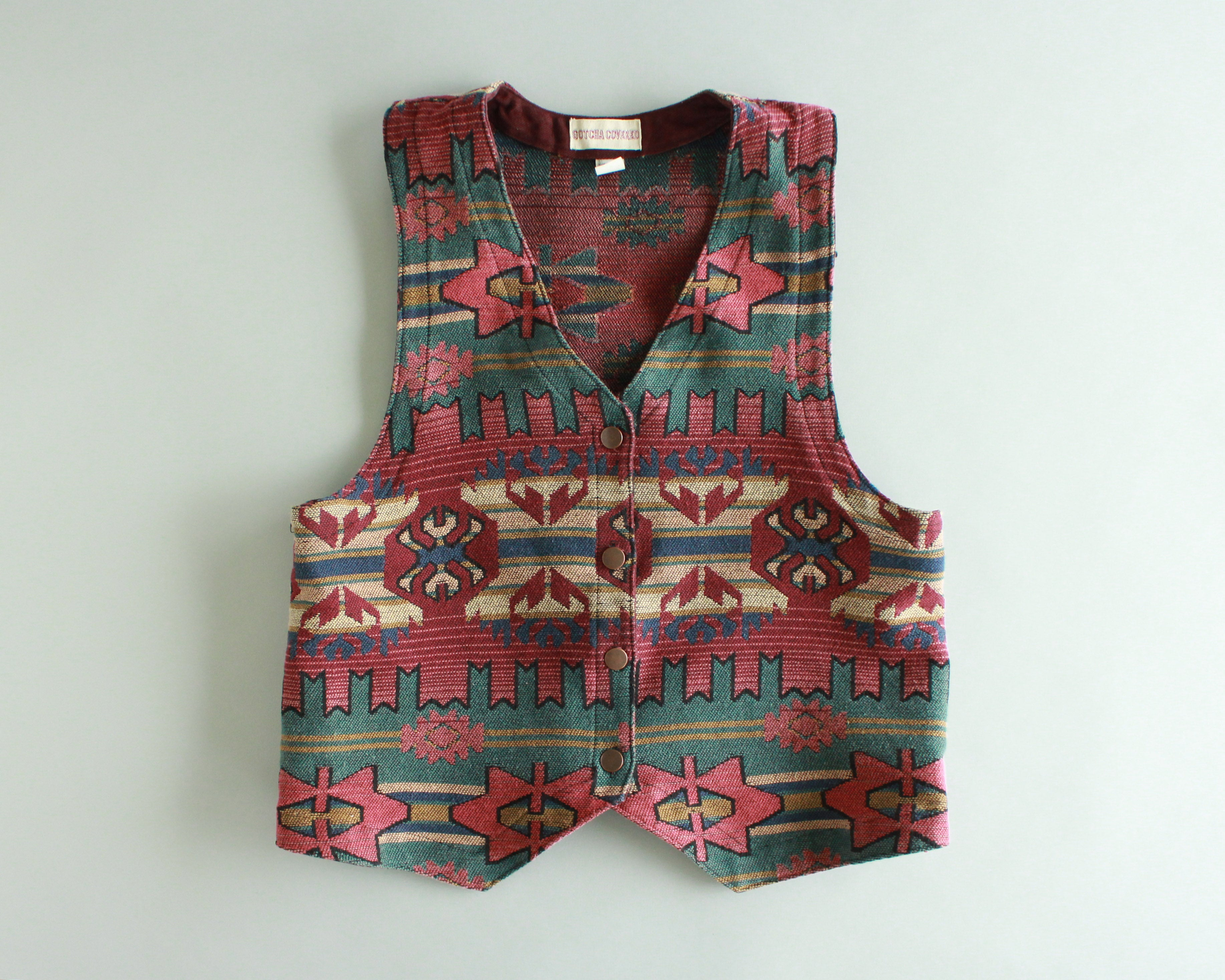 1990's Southwest print tapestry vest womens size large