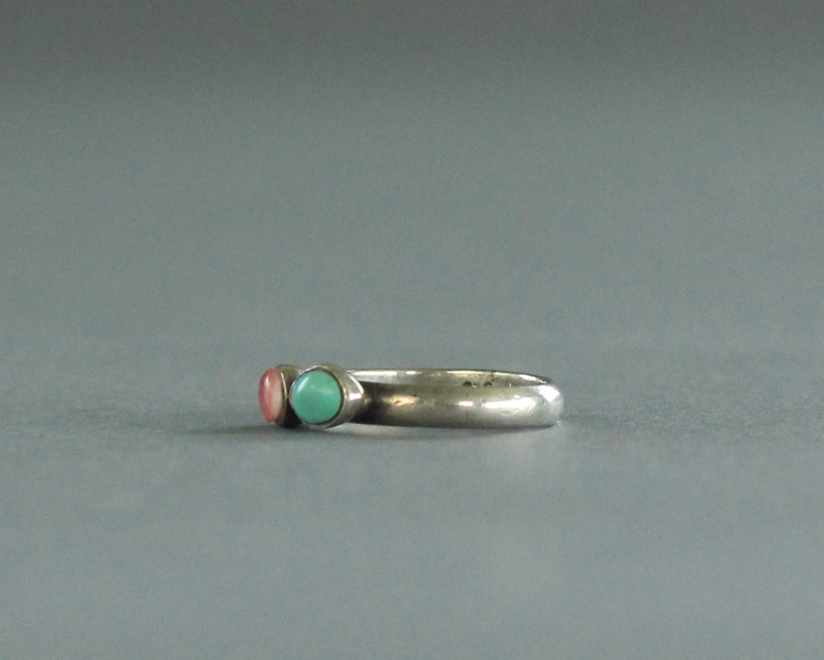 spiny oyster turquoise silver ring size 4
