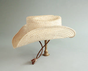 distressed festival straw cowboy hat size 6 7/8