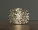 tooled western brass belt buckle