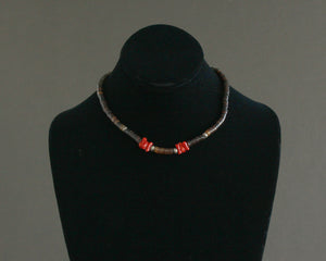 Coral & Pen Shell Beaded Choker