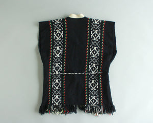 South American woven yarn sweater vest in black and white