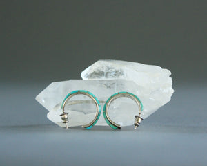 zuni turquoise and silver hoop earrings by wj panteah