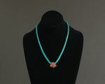 natural turquoise heishi necklace with spiny oyster pendant