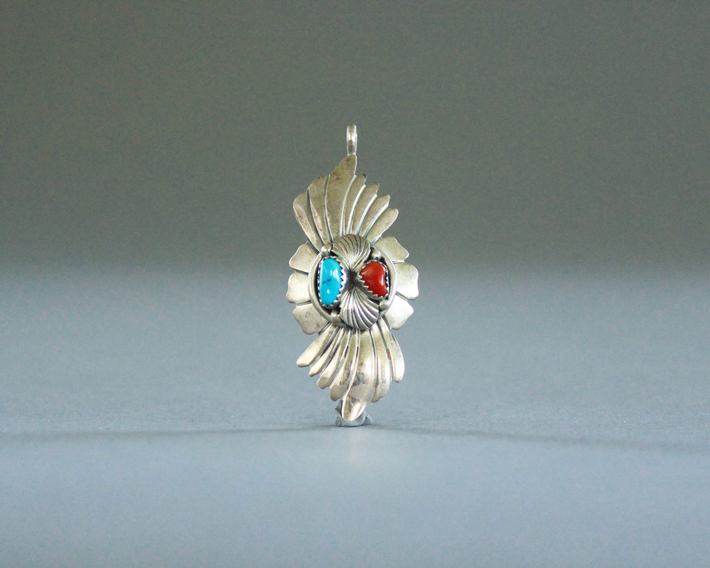 vintage western pendant with coral and turquoise stones