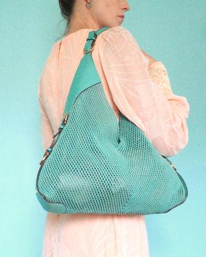 Salvatore Ferragamo Turquoise Leather Mesh Hobo Bag