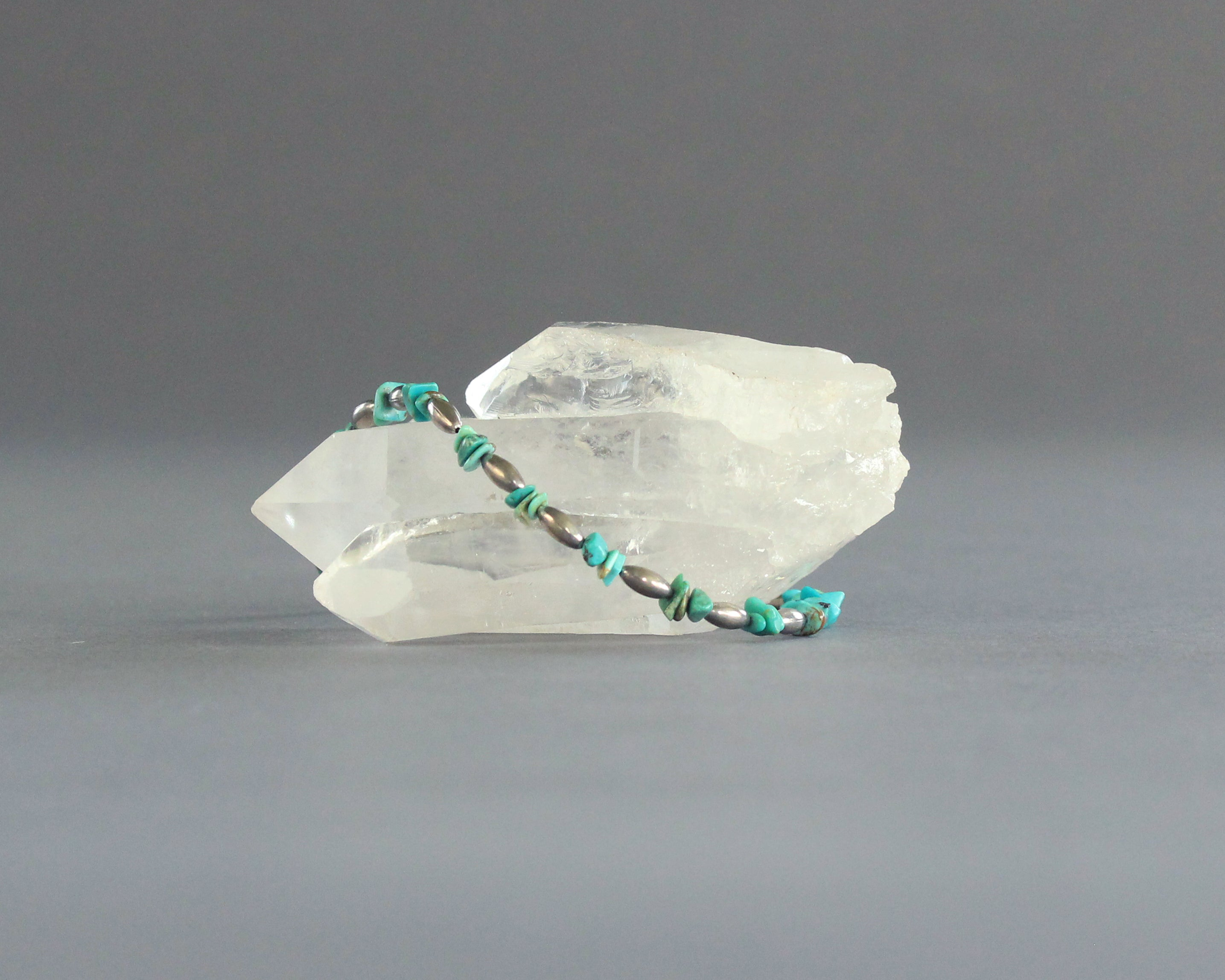 beaded turquoise silver large bracelet or anklet