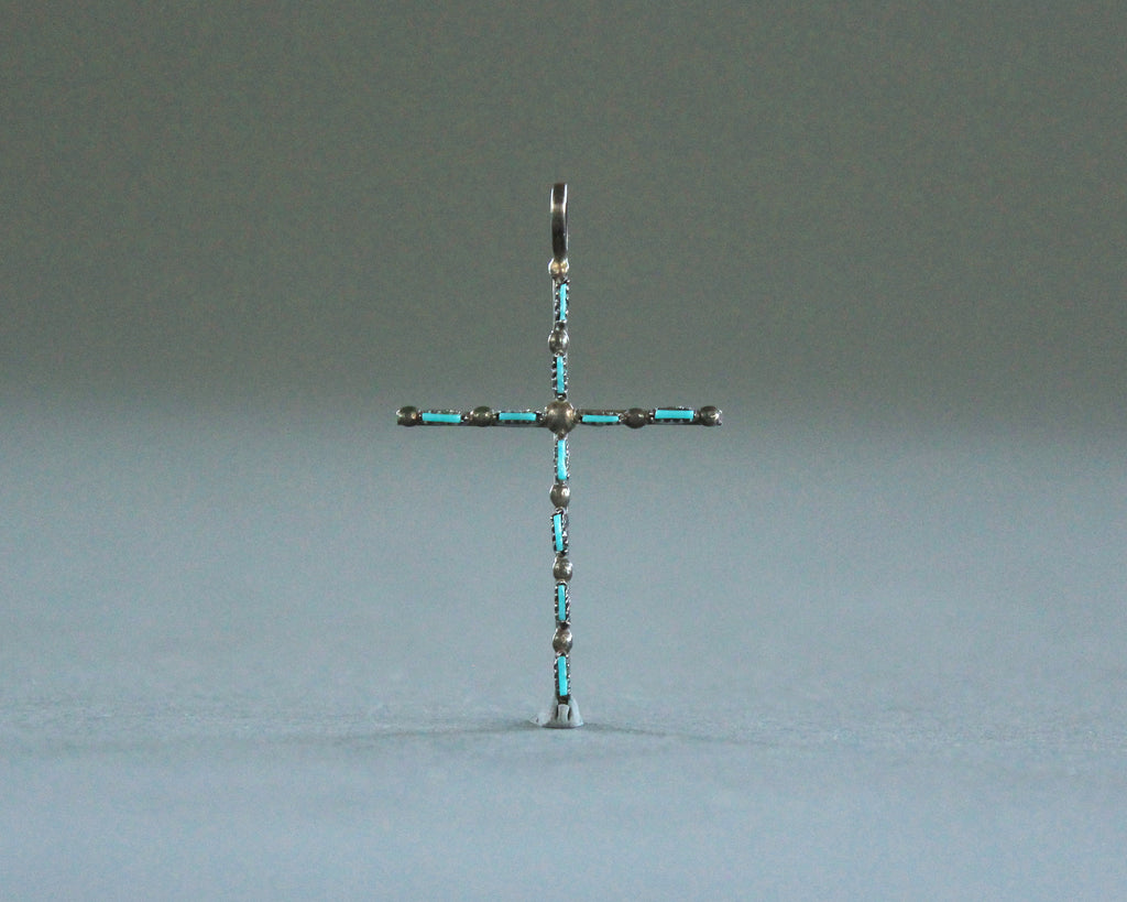 petite point turquoise silver cross pendant